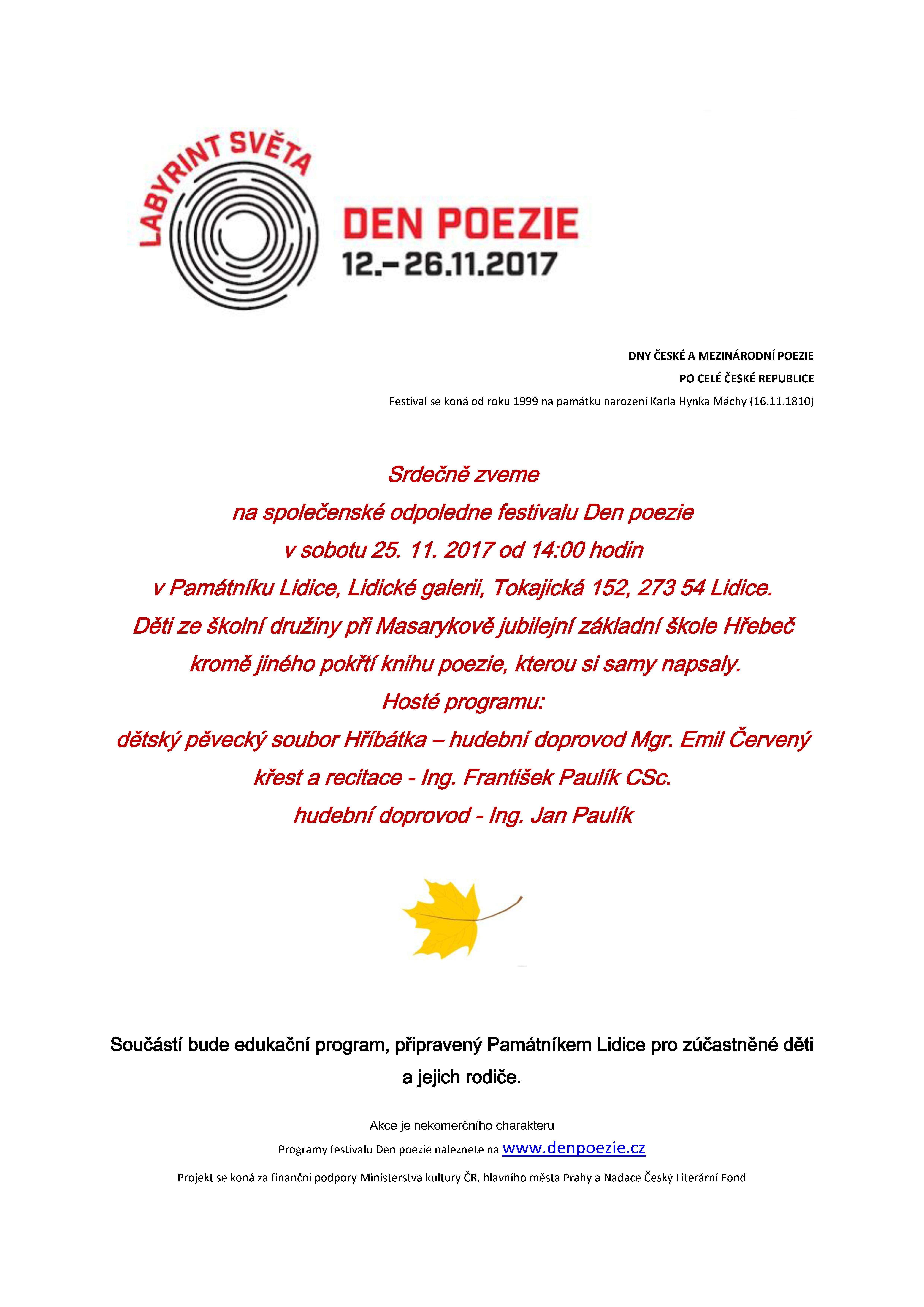 20171106 den poezie pozvánka do Lidic