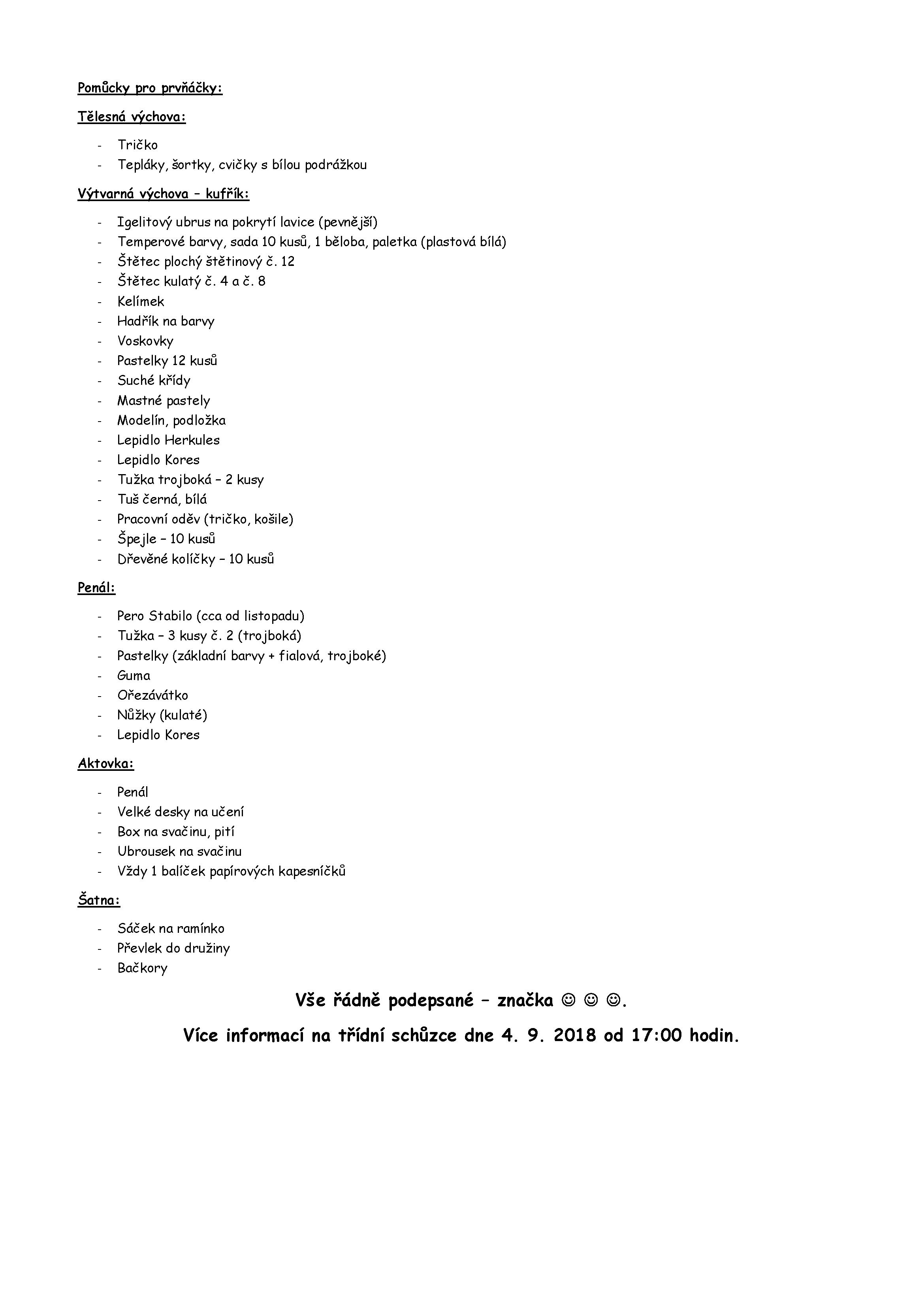 20180830 Pomůcky pro prvňáčky